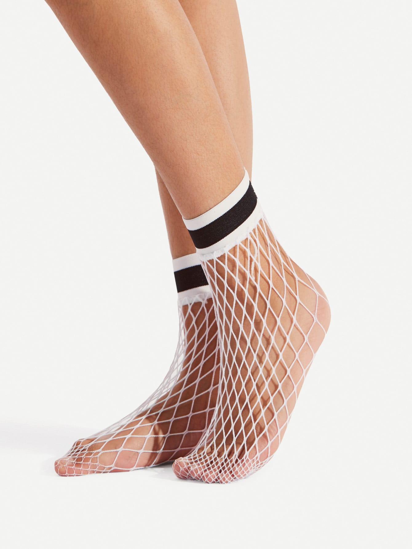 Striped Trim Fishnet Socks