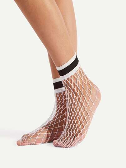 Striped Trim Fishnet Socks