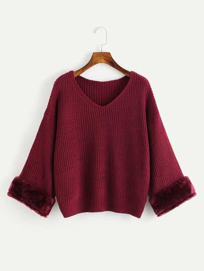 V Neckline Fur Cuff Texture Knit Sweater