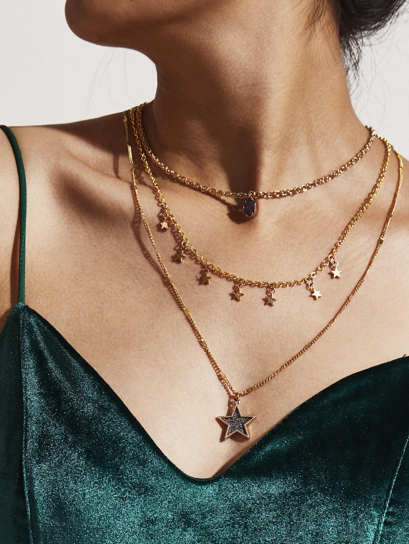 Star Pendant Layered Necklace concise and cute bronze star pendant necklace