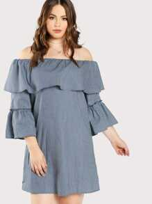 Flounce Off Shoulder Pinstripe Dress