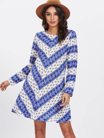 Damask Print Swing Dress