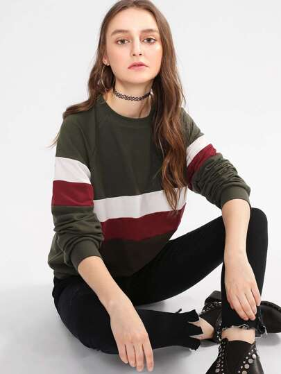 Raglan Sleeve Wide Stripe Pullover
