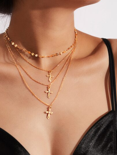 Cross Pendant Layered Chain Necklace