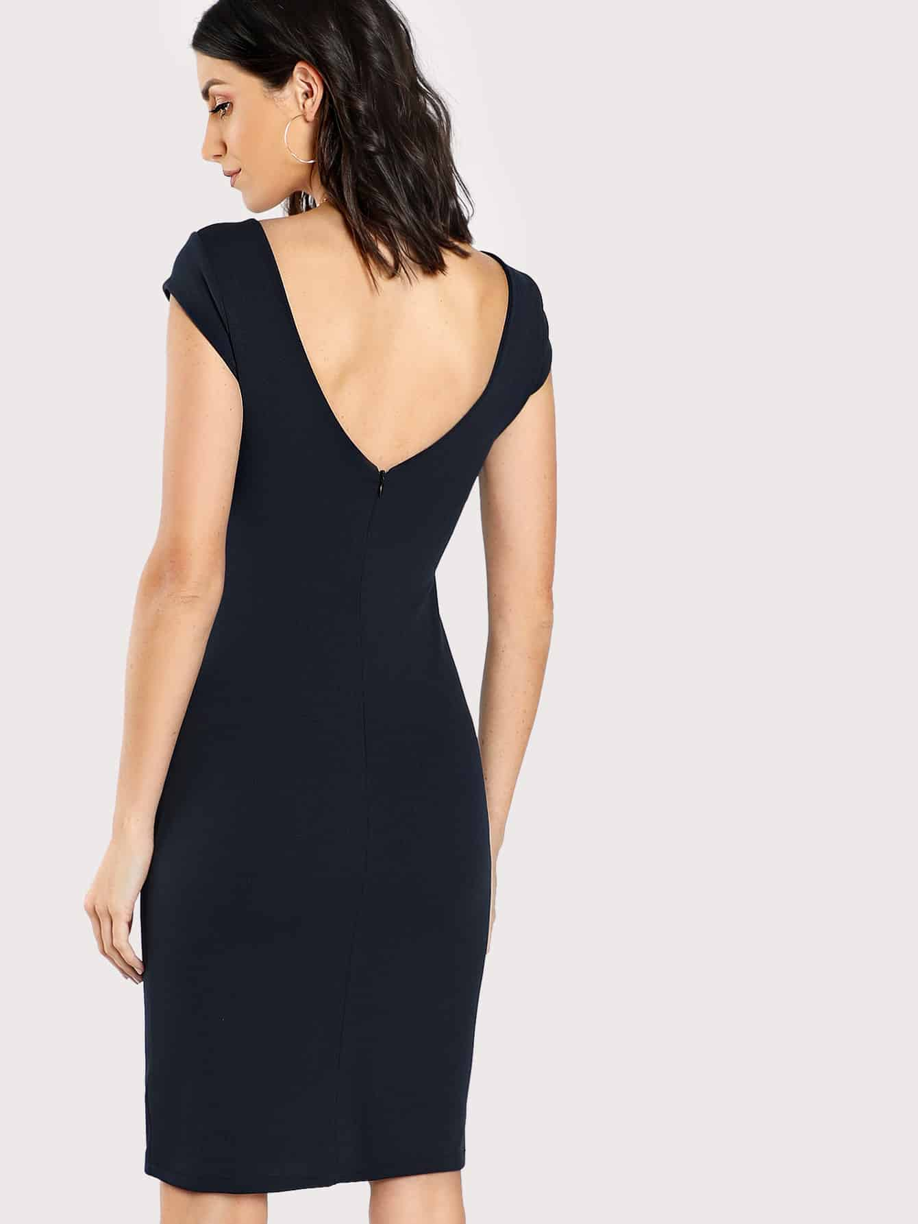 V-Back Solid Fitted Dress болеро quelle ashley brooke by heine 123582
