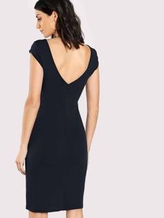 V-Back Solid Fitted Dress