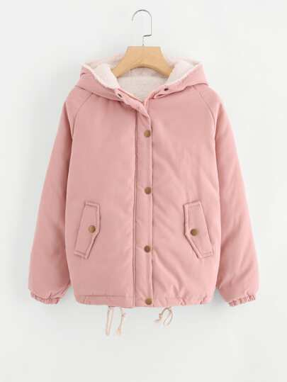 Raglan Sleeve Single Breasted Sherpa Lined Coat