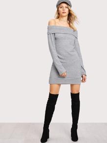 Fold Over Lettuce Trim Sweater Dress