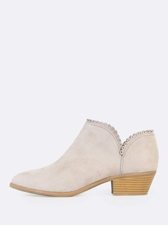 Dolly Hem Round Toe Booties TAUPE