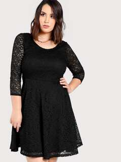 Sheer Lace A Line Dress BLACK