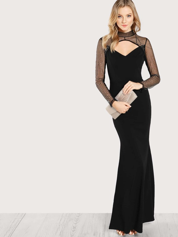 Black and gold maxi dresses for women