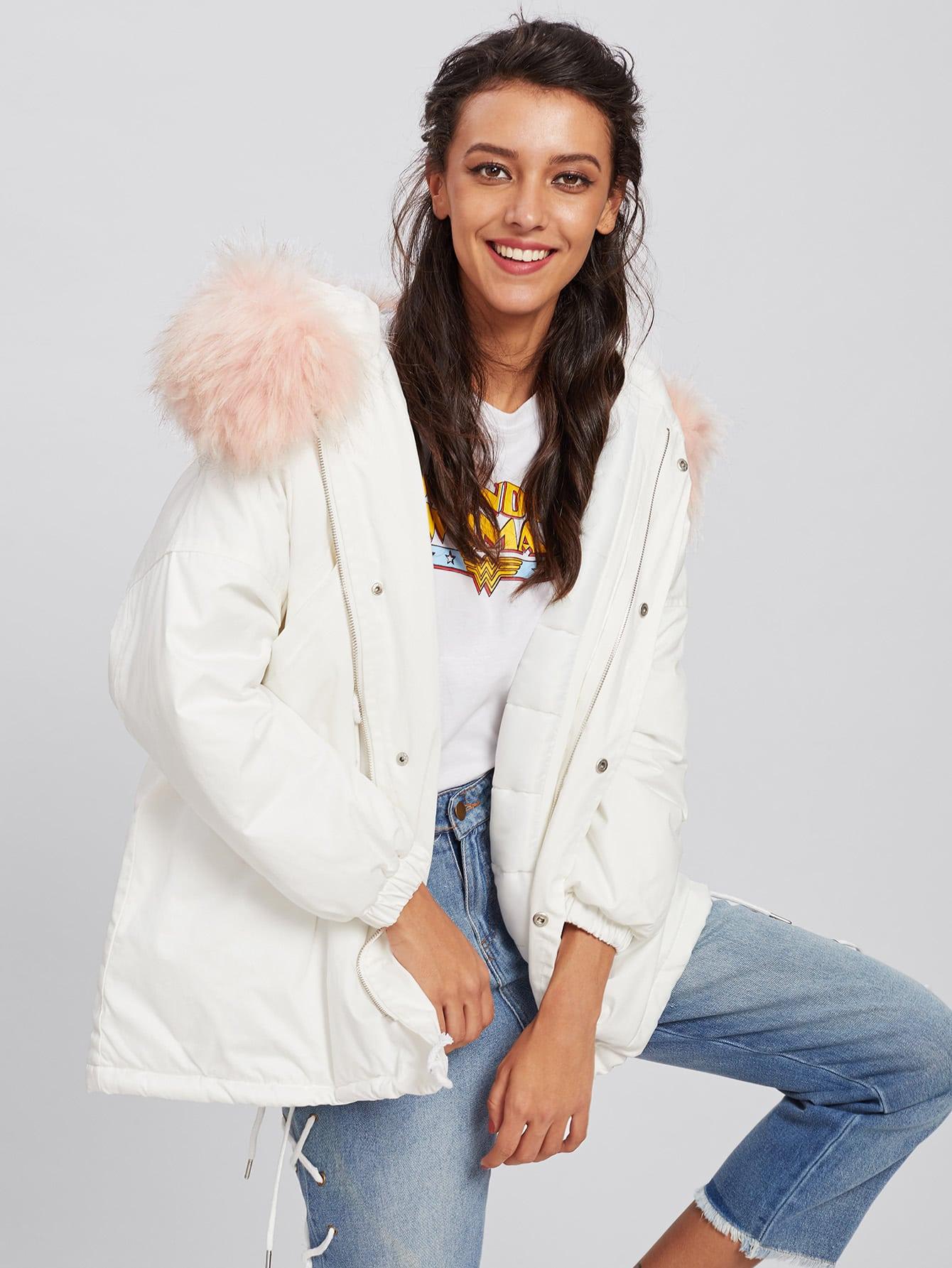 Contrast Faux Fur Hooded Parka Coat drop shoulder contrast faux fur sleeve sweatshirt
