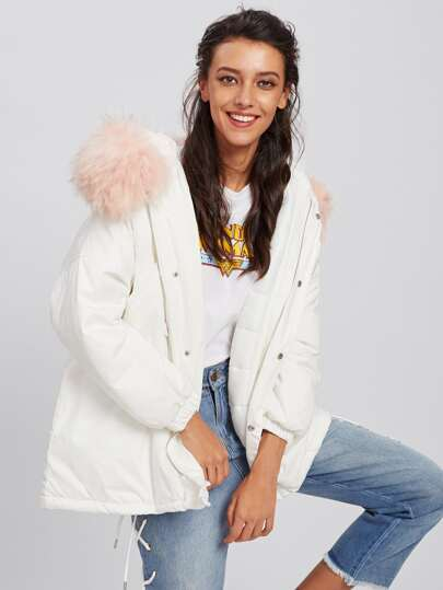 Contrast Faux Fur Hooded Parka Coat