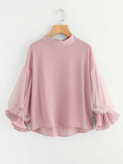 Dip Hem Lace Panel Blouse