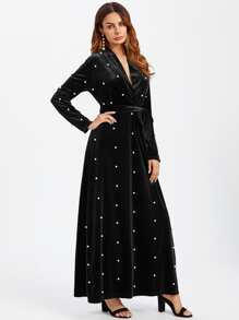 Pearl Beaded Surplice Wrap Plunging Velvet Dress