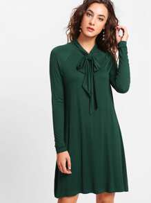 Raglan Sleeve Tied Neck Swing Tee Dress