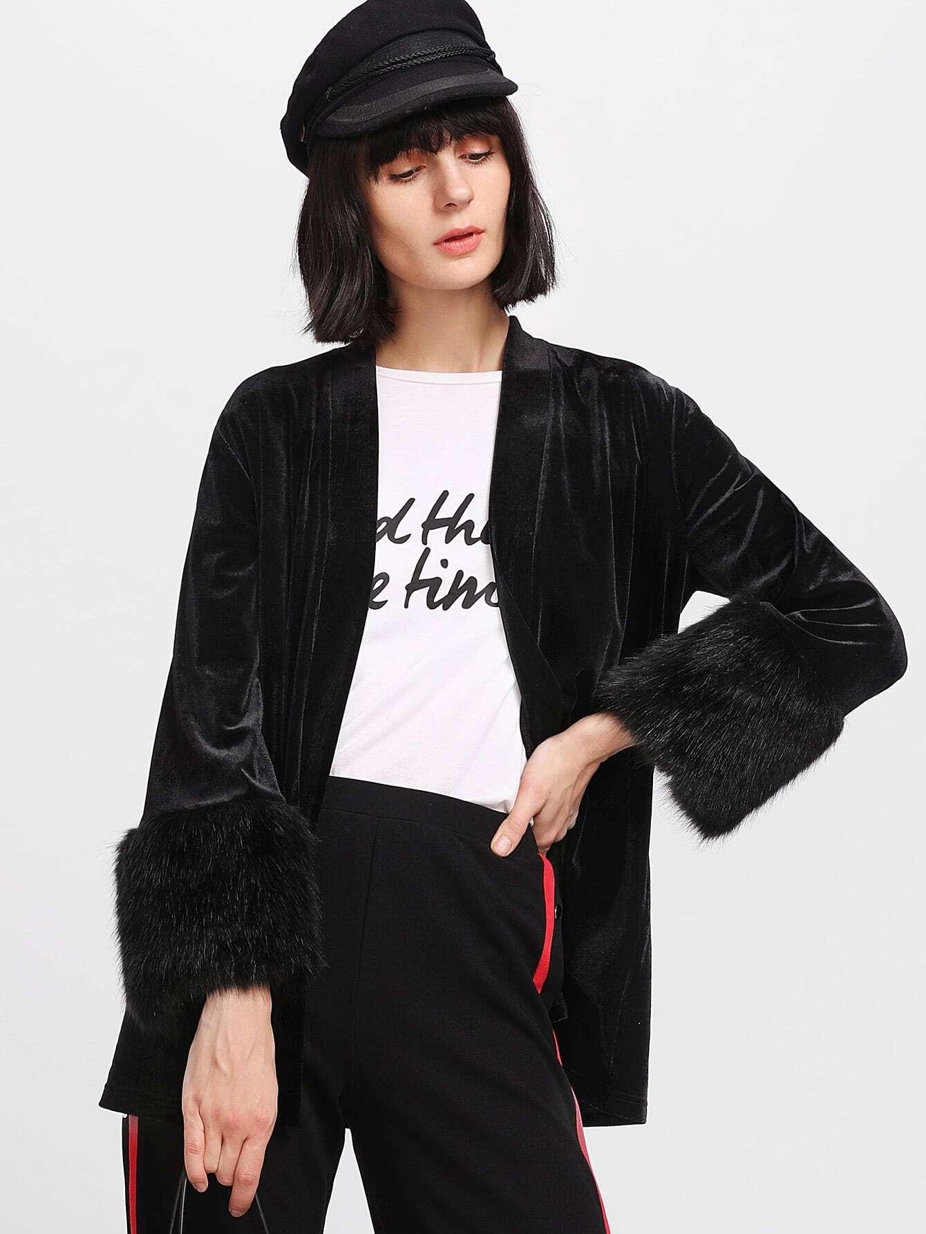 Faux Fur Cuff Velvet Open Front Coat grey fashion sleeveless artificial fur open front coat