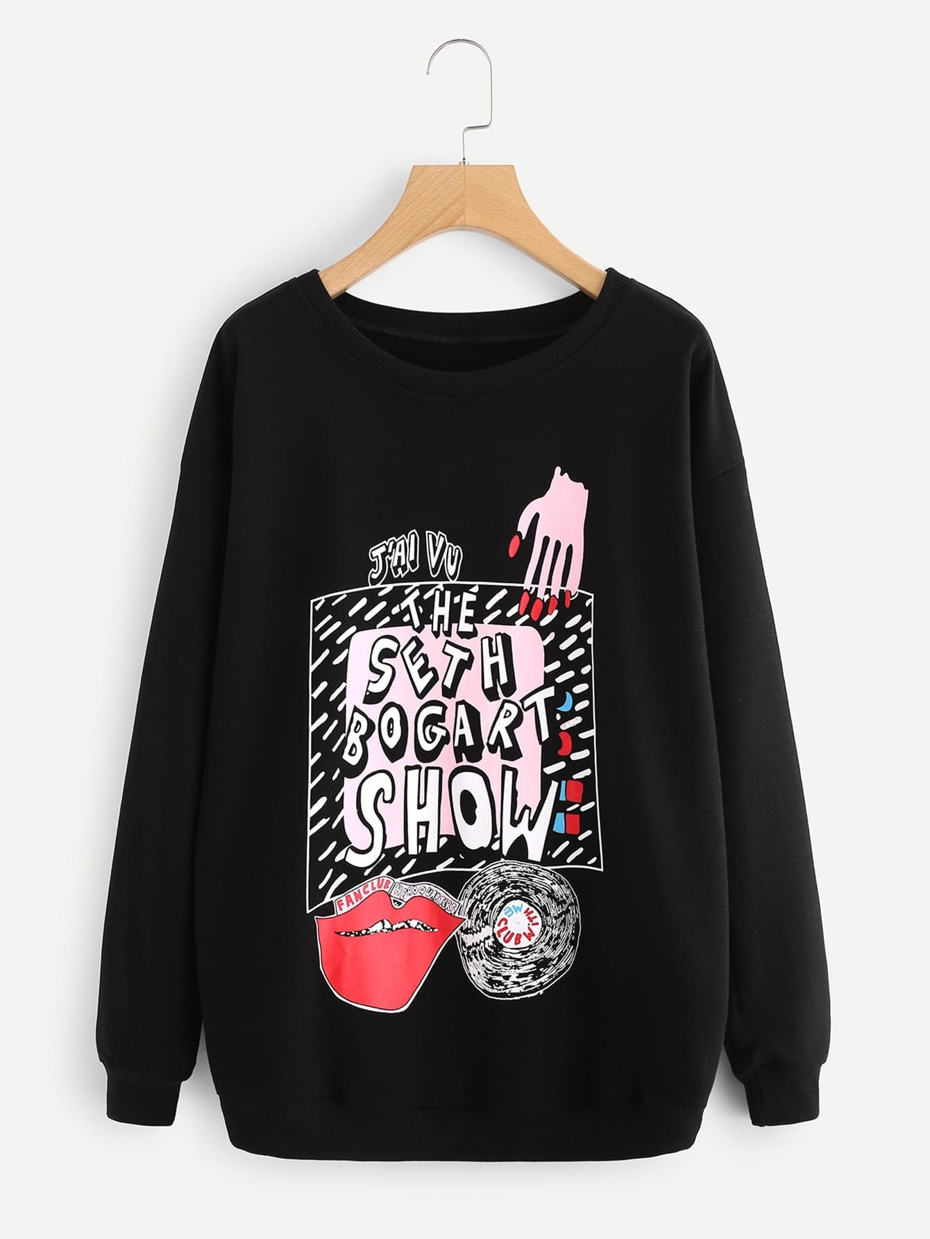 Mixed Print Drop Shoulder Sweatshirt drop shoulder crop sweatshirt