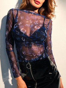 Fire Pattern See-Through Top