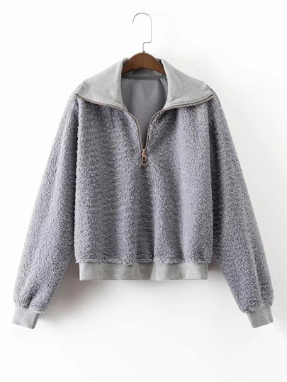 Zipper Up Lambswool Sweatshirt