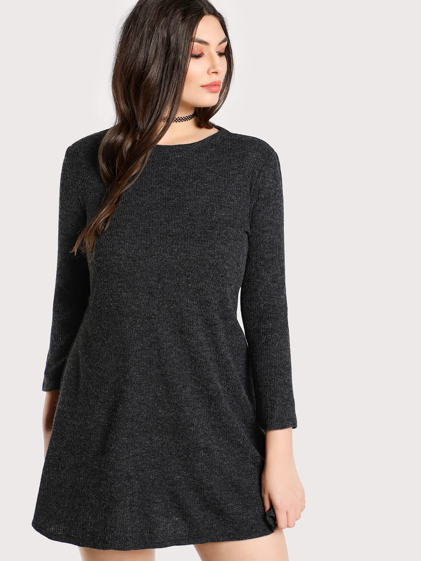 Heather Knit Tee Dress heather knit dolphin hem tee dress