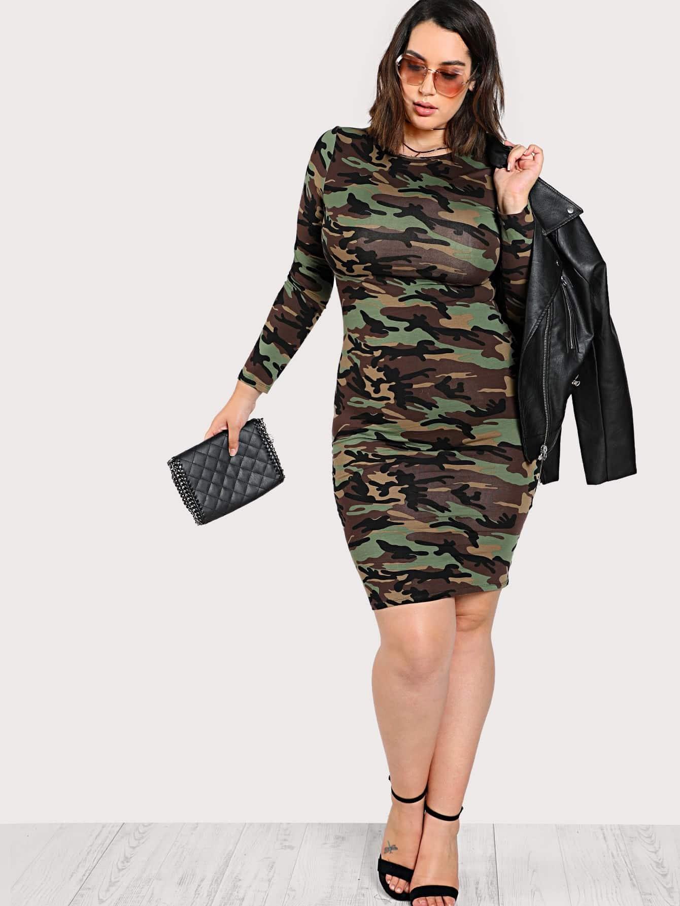 Camo Print Pencil Dress camo print night dress