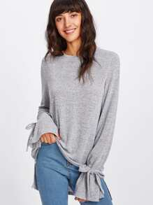 Bow Tied Flare Cuff Dip Hem Heathered Knit Top