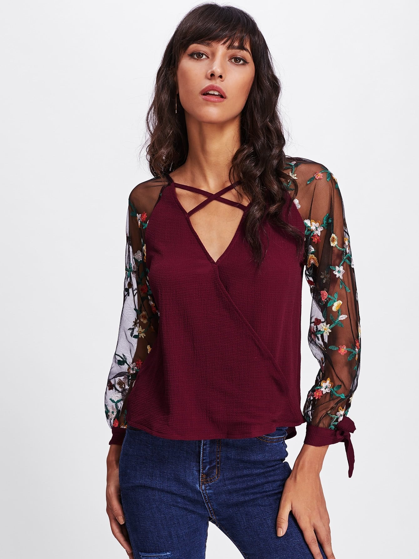 Floral Embroidered Lace Panel Criss Cross Surplice Blouse metallic panel criss cross sliders