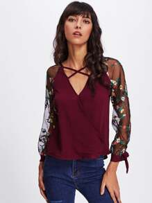 Floral Embroidered Lace Panel Criss Cross Surplice Blouse
