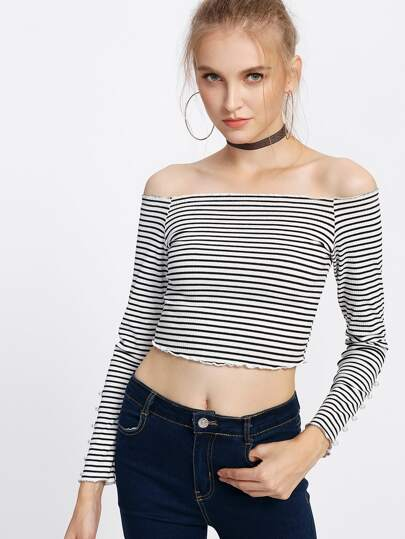 Lettuce Edge Rib Knit Striped Bardot Top