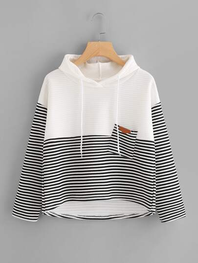 Contrast Striped High Low Drawstring Hooded Pocket Sweatshirt