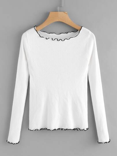Contrast Frill Trim Ribbed Knit Tee