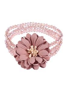 Flower Decorated Beaded Layered Bracelet