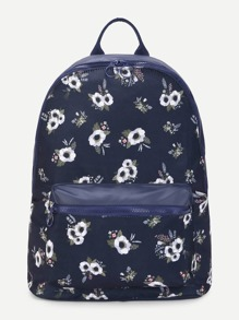 Calico Print Pocket Front Canvas Backpack