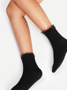 Contrast Faux Fur Ankle Socks