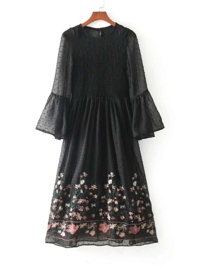 Bell Sleeve Flower Embroidery Shirred Mesh Dress