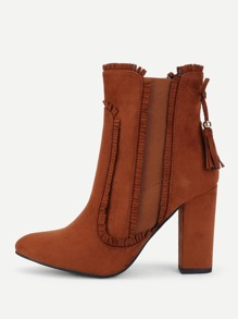 Raw Trim Suede Boots With Tassel
