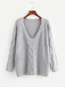 Suéter tejido de cable de hombros caídos de cuello profundo