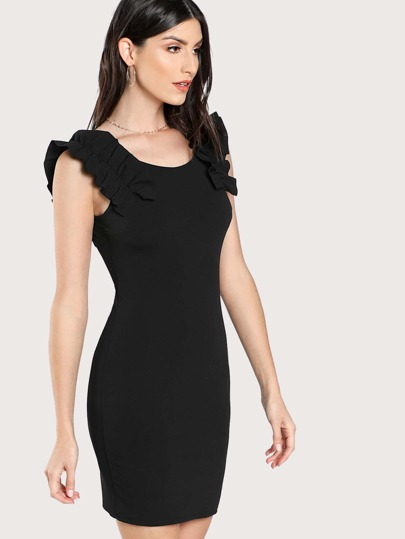 Frill Detail Scoop Back Bodycon Dress