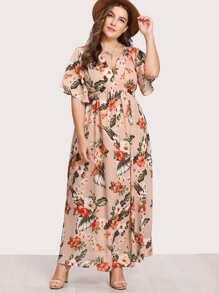 V Notch Front Belted Tropical Dress