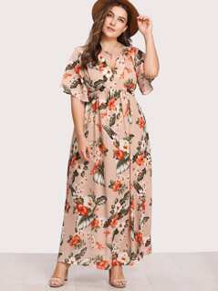 V Notch Front Belted Tropical Dress