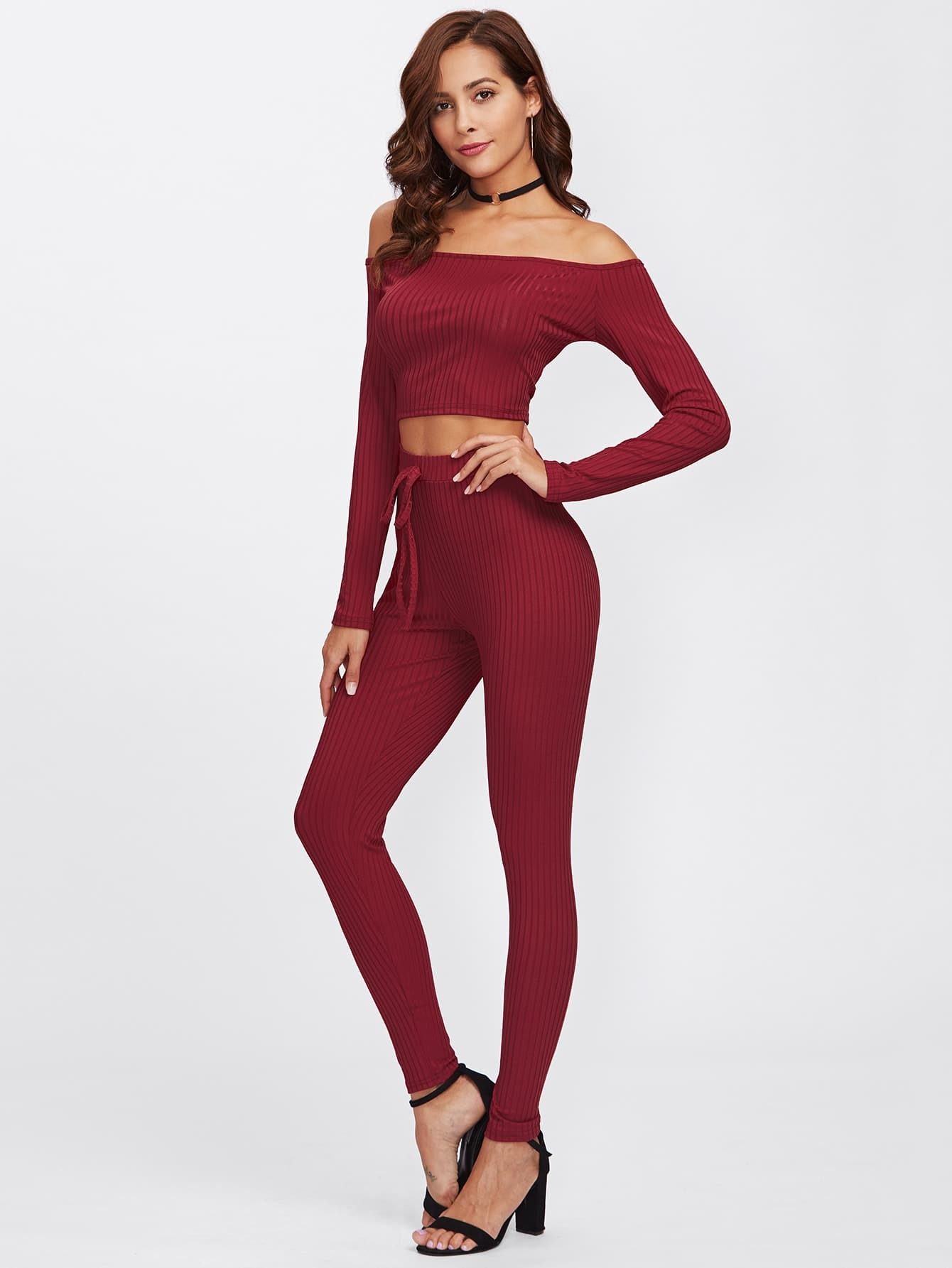 Off Shoulder Ribbed Top And Drawstring Waist Pants twopiece171121330