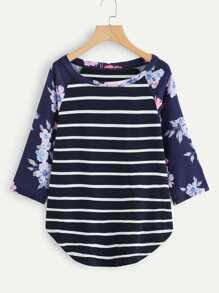Floral Raglan Sleeve Curved Striped Tee