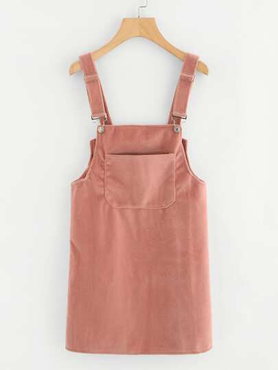 Pocket Front Button Detail Pinafore Dress