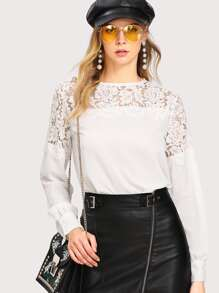 Eyelash Lace Panel Blouse
