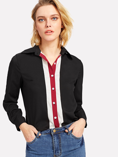 Striped Buttoned Placket Shirt
