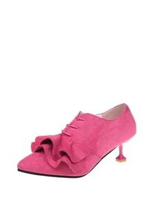 Flounce Design Lace Up Heeled Shoes