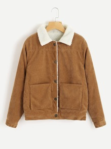 Ribbed Corduroy Shearling Jacket