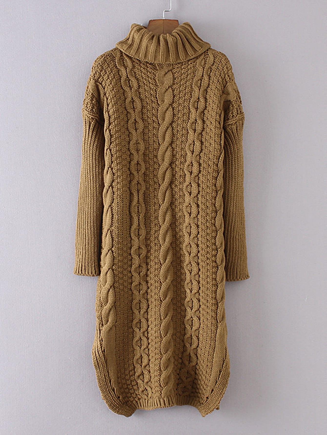 Cable-knit Turtleneck Sweater Dress -SheIn(Sheinside)