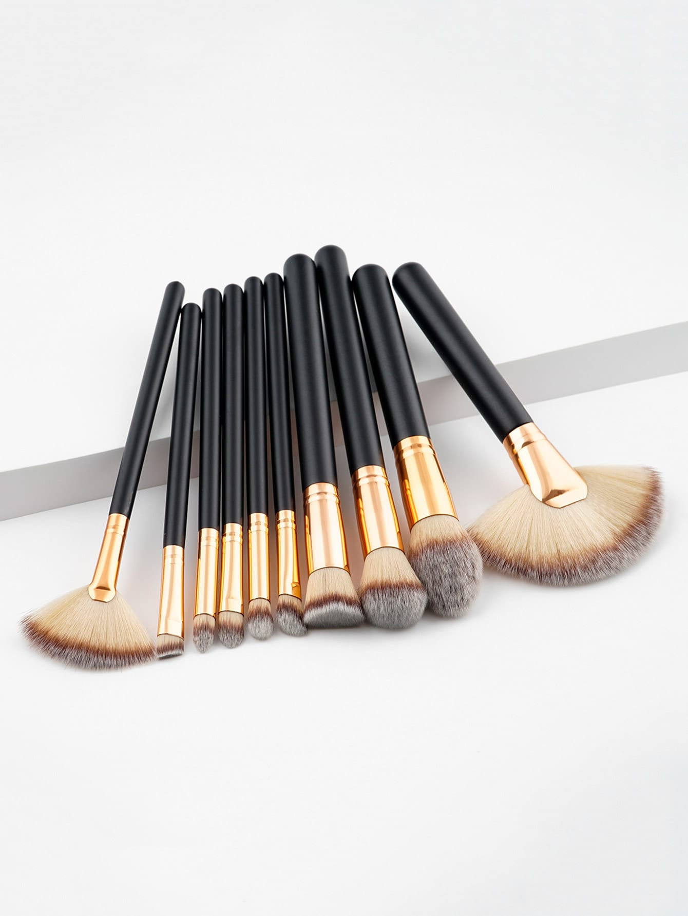 Two Tone Handle Makeup Brush Set 10pcs two tone drop shoulder sweatshirt